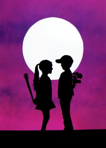 BANKSY - FAKE LOVE - Moonlight canvas print - self adhesive poster - photo print